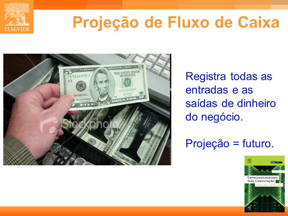 9 Capa Projeção de Fluxo de Caixa Registra todas as entradas e as saídas de dinheiro do negócio. Projeção = futuro.