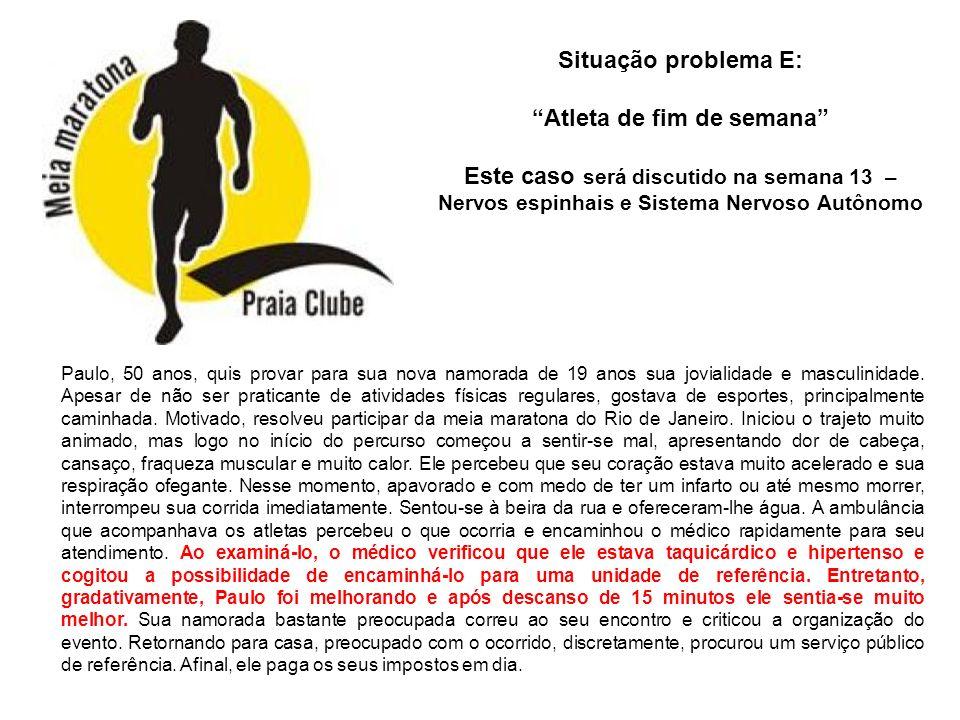 Situação problema E: Atleta de fim de semana Este caso será discutido na semana 13 – Nervos espinhais e Sistema Nervoso Autônomo Paulo, 50 anos, quis