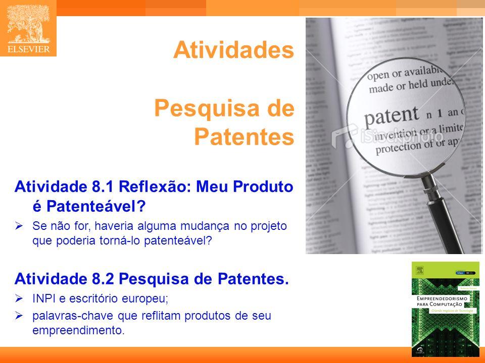 13 Capa Atividades Atividade 8.1 Reflexão: Meu Produto é Patenteável.