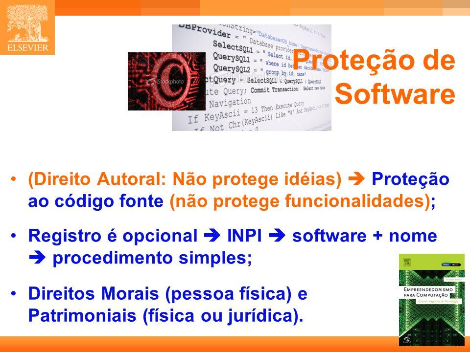 24 Capa Proteção de Software (Direito Autoral: Não protege idéias) Proteção ao código fonte (não protege funcionalidades); Registro é opcional INPI software + nome procedimento simples; Direitos Morais (pessoa física) e Patrimoniais (física ou jurídica).