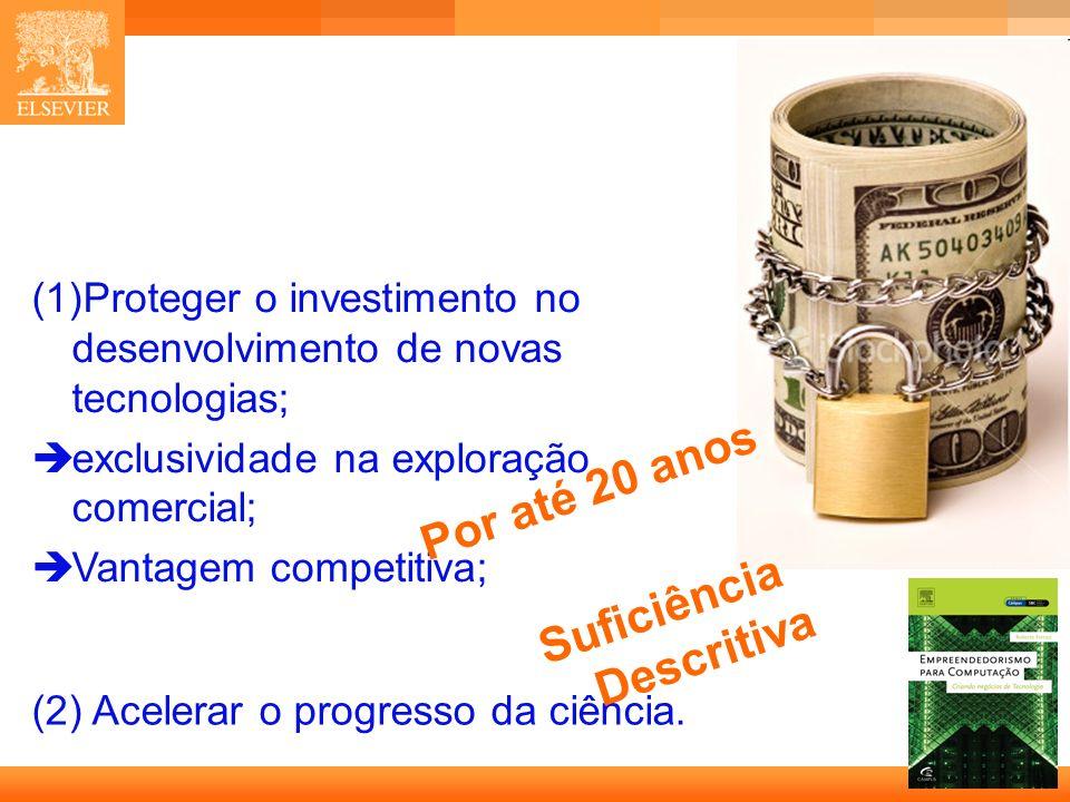 6 Capa (1)Proteger o investimento no desenvolvimento de novas tecnologias; exclusividade na exploração comercial; Vantagem competitiva; (2) Acelerar o progresso da ciência.