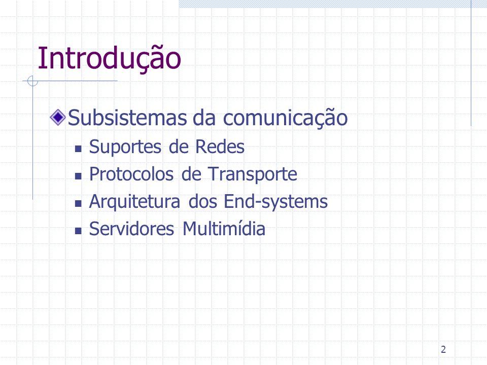 2 Introdução Subsistemas da comunicação Suportes de Redes Protocolos de Transporte Arquitetura dos End-systems Servidores Multimídia