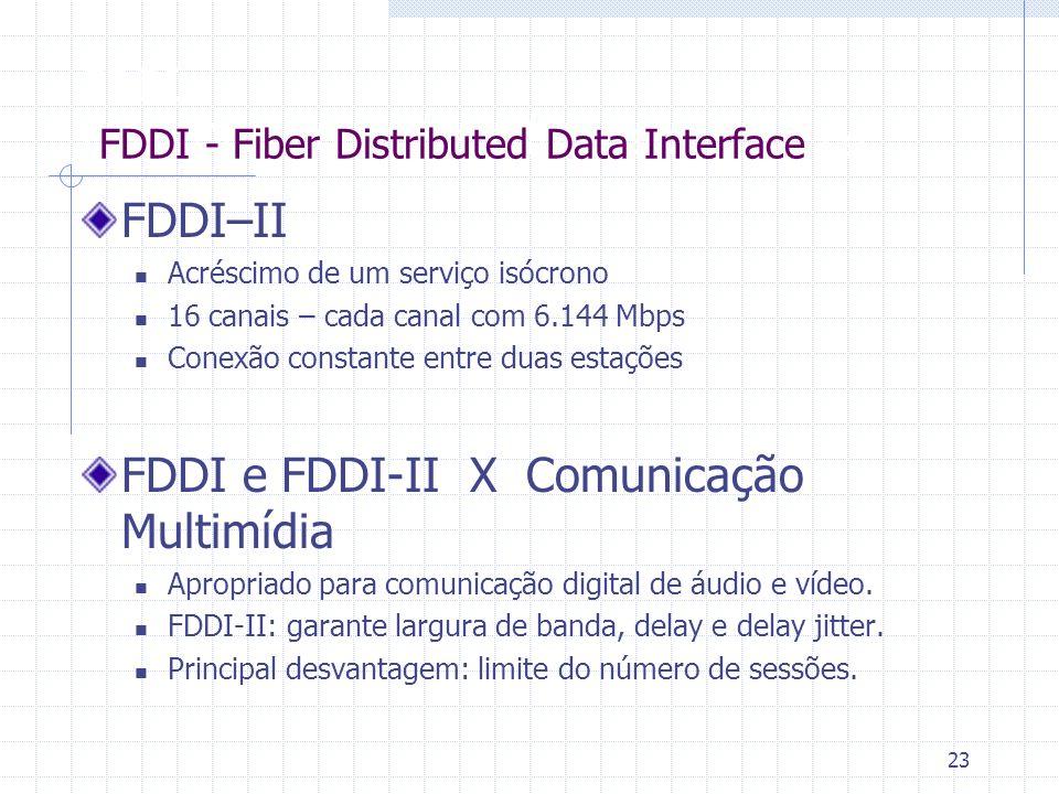 23 FDDI Fiber Distributed Data Interface FDDI–II Acréscimo de um serviço isócrono 16 canais – cada canal com 6.144 Mbps Conexão constante entre duas e