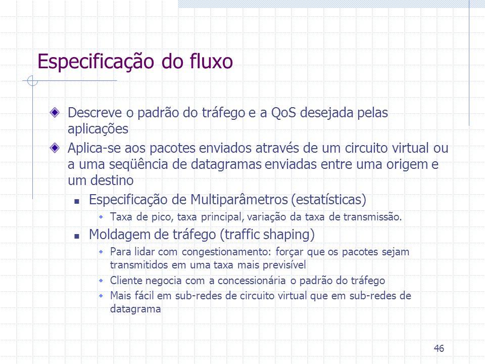 46 Descreve o padrão do tráfego e a QoS desejada pelas aplicações Aplica-se aos pacotes enviados através de um circuito virtual ou a uma seqüência de