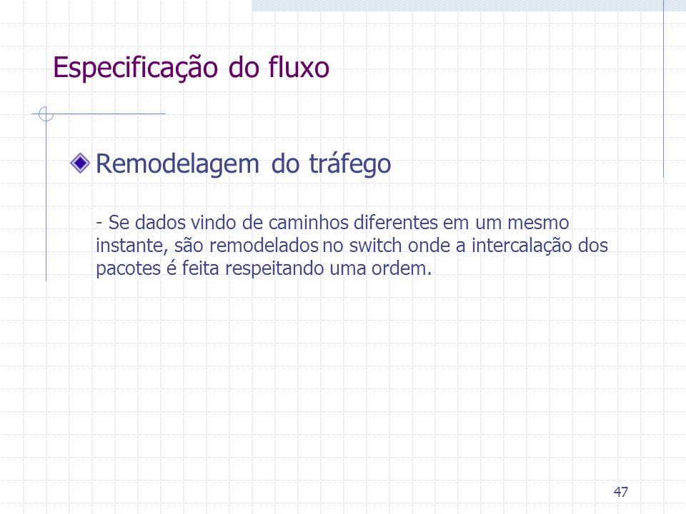 47 Remodelagem do tráfego - Se dados vindo de caminhos diferentes em um mesmo instante, são remodelados no switch onde a intercalação dos pacotes é fe