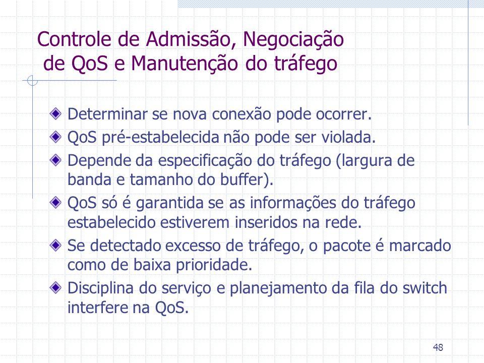 48 Controle de Admissão, Negociação de QoS e Manutenção do tráfego Determinar se nova conexão pode ocorrer. QoS pré-estabelecida não pode ser violada.