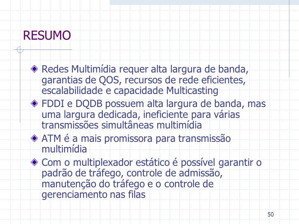 50 RESUMO Redes Multimídia requer alta largura de banda, garantias de QOS, recursos de rede eficientes, escalabilidade e capacidade Multicasting FDDI