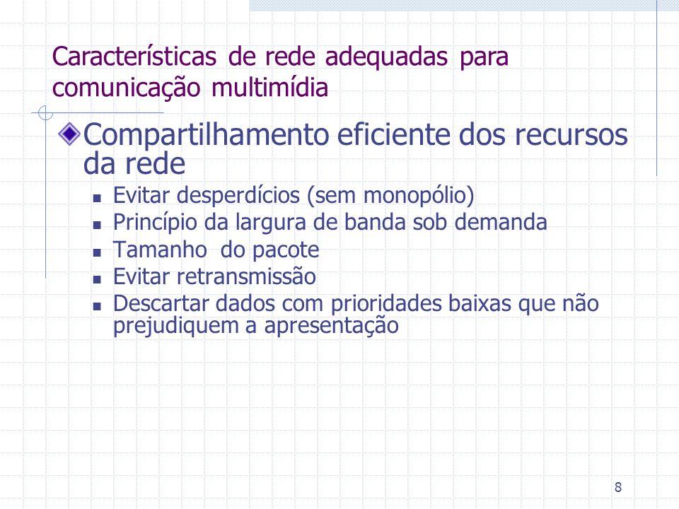 8 Compartilhamento eficiente dos recursos da rede Evitar desperdícios (sem monopólio) Princípio da largura de banda sob demanda Tamanho do pacote Evit