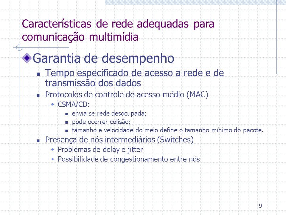 9 Garantia de desempenho Tempo especificado de acesso a rede e de transmissão dos dados Protocolos de controle de acesso médio (MAC) CSMA/CD: envia se
