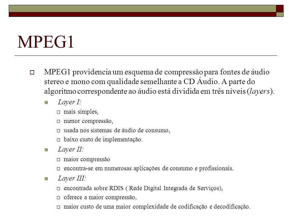 MPEG1 MPEG1 providencia um esquema de compressão para fontes de áudio stereo e mono com qualidade semelhante a CD Áudio. A parte do algoritmo correspo