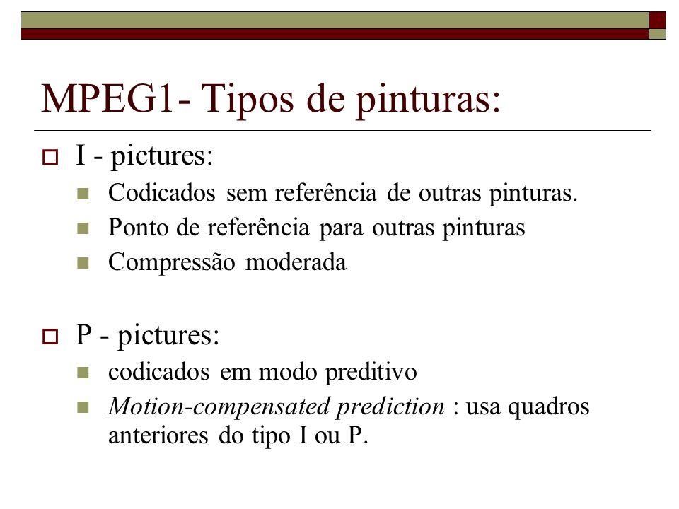 MPEG1- Tipos de pinturas: I - pictures: Codicados sem referência de outras pinturas. Ponto de referência para outras pinturas Compressão moderada P -