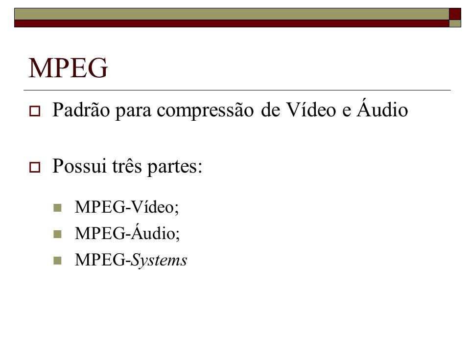 MPEG Padrão para compressão de Vídeo e Áudio Possui três partes: MPEG-Vídeo; MPEG-Áudio; MPEG-Systems