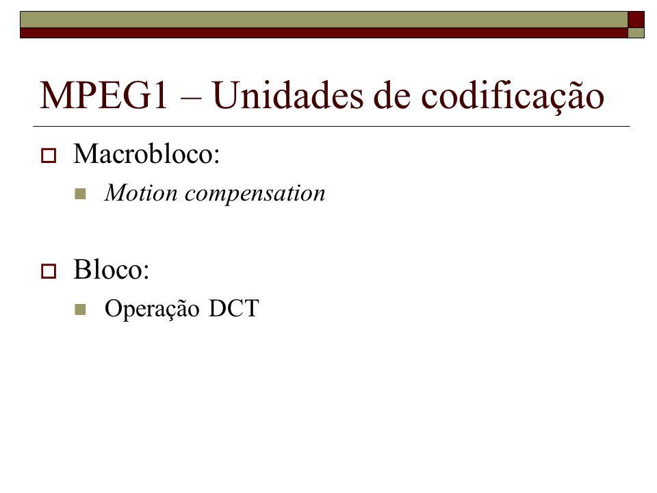 MPEG1 – Unidades de codificação Macrobloco: Motion compensation Bloco: Operação DCT