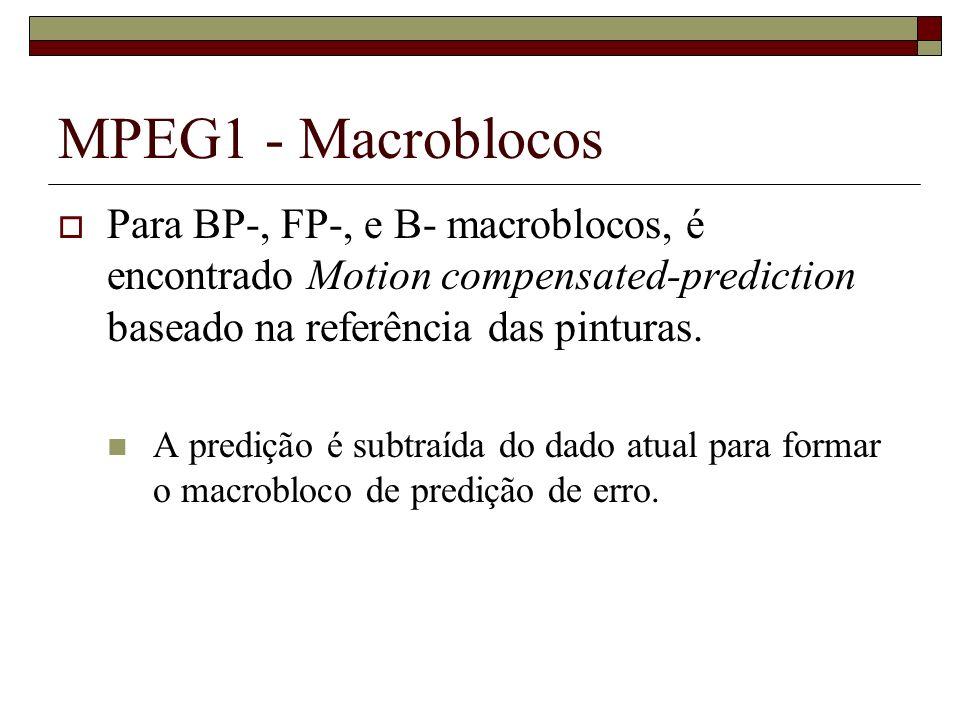 MPEG1 - Macroblocos Para BP-, FP-, e B- macroblocos, é encontrado Motion compensated-prediction baseado na referência das pinturas. A predição é subtr