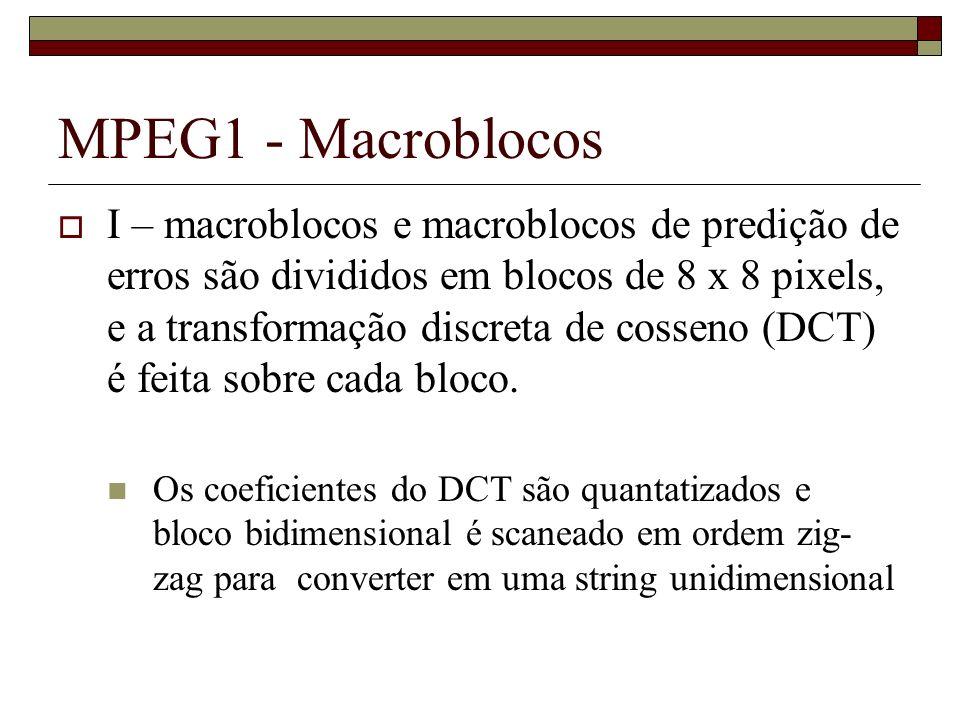 MPEG1 - Macroblocos I – macroblocos e macroblocos de predição de erros são divididos em blocos de 8 x 8 pixels, e a transformação discreta de cosseno