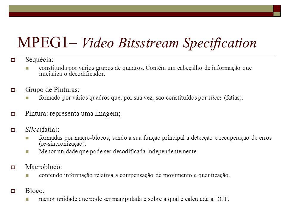 MPEG1– Video Bitsstream Specification Seqüêcia: constituída por vários grupos de quadros. Contém um cabeçalho de informação que inicializa o decodific