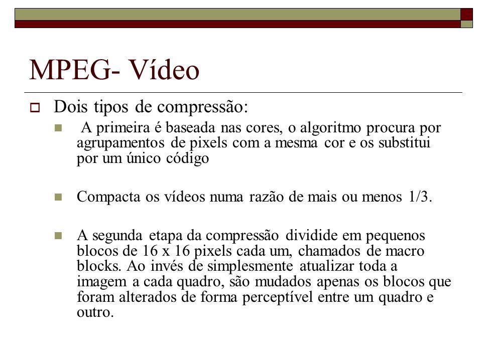 MPEG- Vídeo Dois tipos de compressão: A primeira é baseada nas cores, o algoritmo procura por agrupamentos de pixels com a mesma cor e os substitui po
