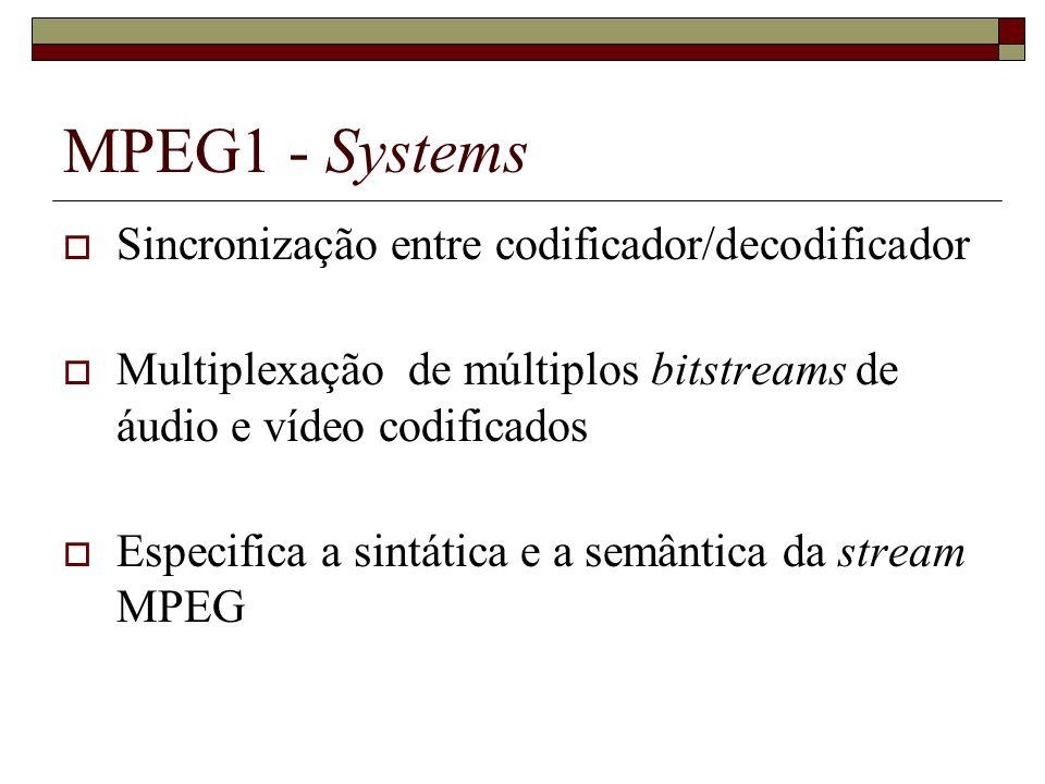 MPEG1 - Systems Sincronização entre codificador/decodificador Multiplexação de múltiplos bitstreams de áudio e vídeo codificados Especifica a sintátic