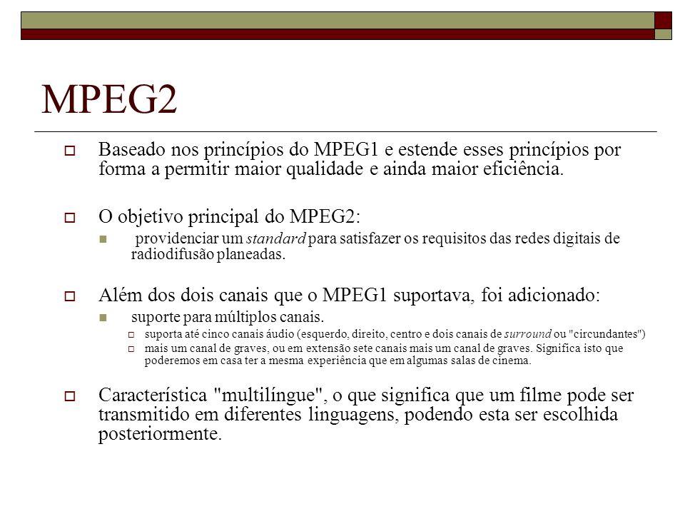 MPEG2 Baseado nos princípios do MPEG1 e estende esses princípios por forma a permitir maior qualidade e ainda maior eficiência. O objetivo principal d