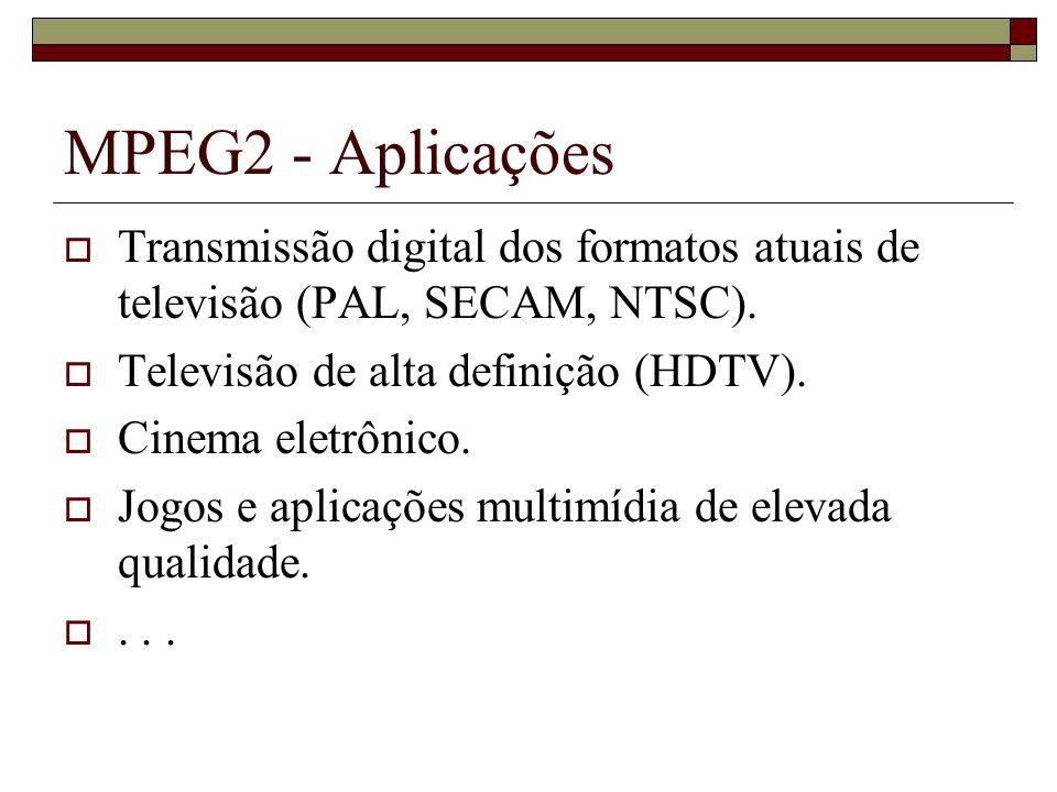 MPEG2 - Aplicações Transmissão digital dos formatos atuais de televisão (PAL, SECAM, NTSC). Televisão de alta definição (HDTV). Cinema eletrônico. Jog
