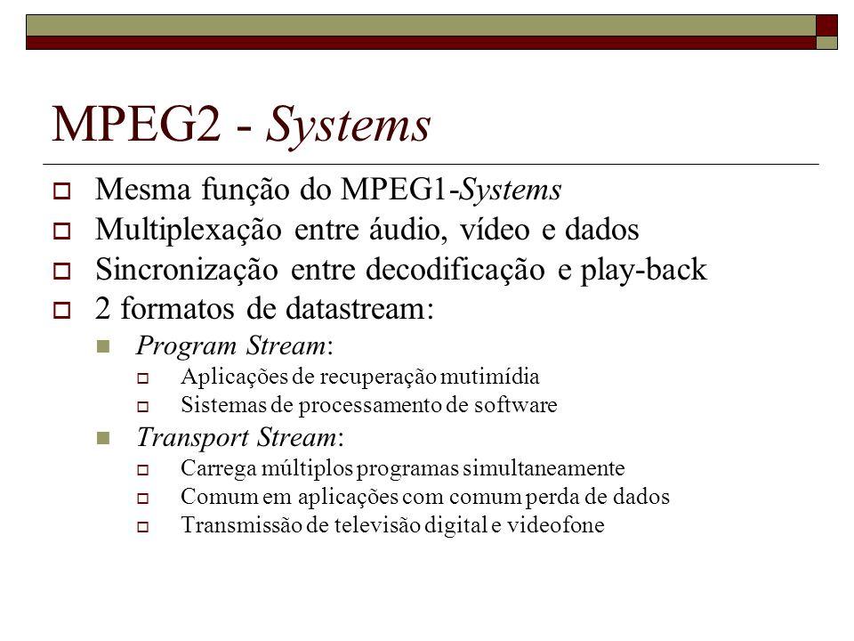MPEG2 - Systems Mesma função do MPEG1-Systems Multiplexação entre áudio, vídeo e dados Sincronização entre decodificação e play-back 2 formatos de dat