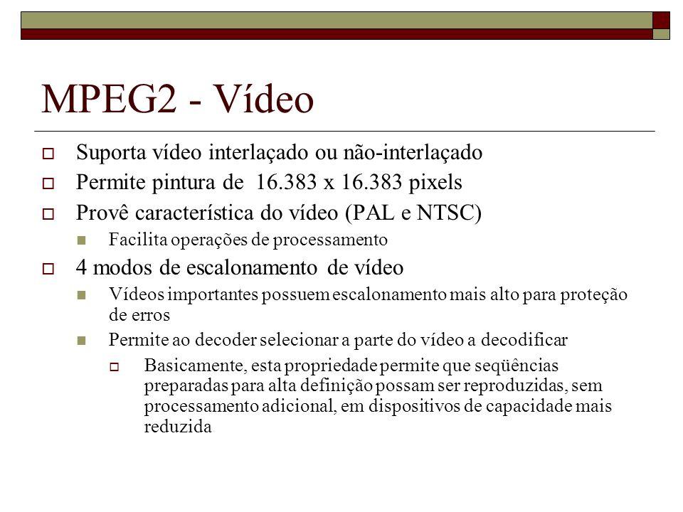 MPEG2 - Vídeo Suporta vídeo interlaçado ou não-interlaçado Permite pintura de 16.383 x 16.383 pixels Provê característica do vídeo (PAL e NTSC) Facili