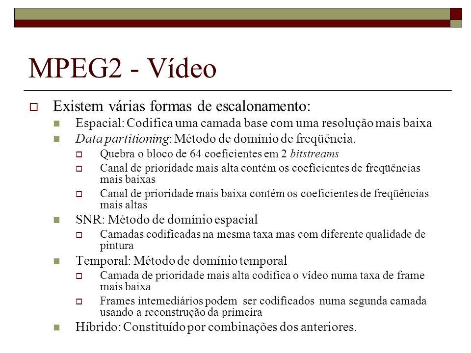 MPEG2 - Vídeo Existem várias formas de escalonamento: Espacial: Codifica uma camada base com uma resolução mais baixa Data partitioning: Método de dom
