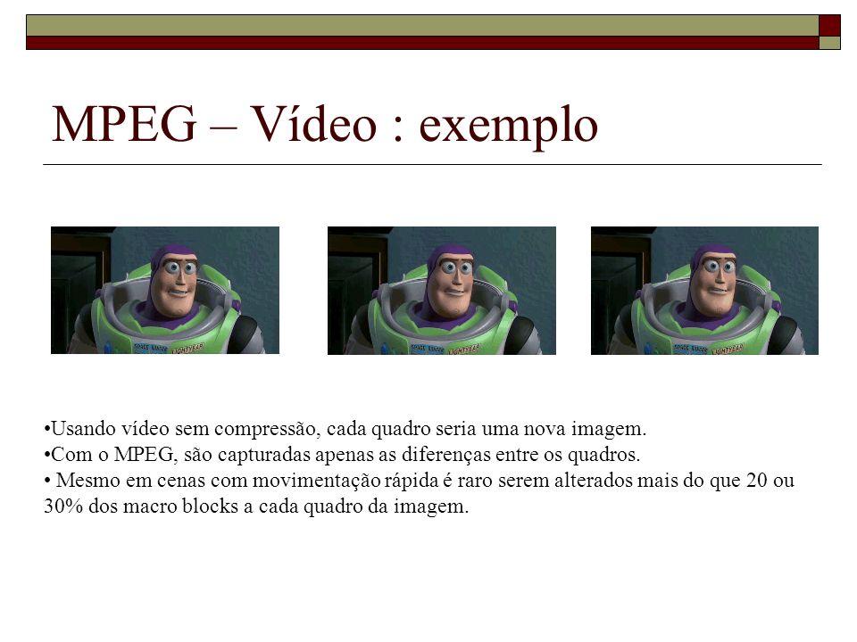 MPEG – Vídeo : exemplo Usando vídeo sem compressão, cada quadro seria uma nova imagem. Com o MPEG, são capturadas apenas as diferenças entre os quadro