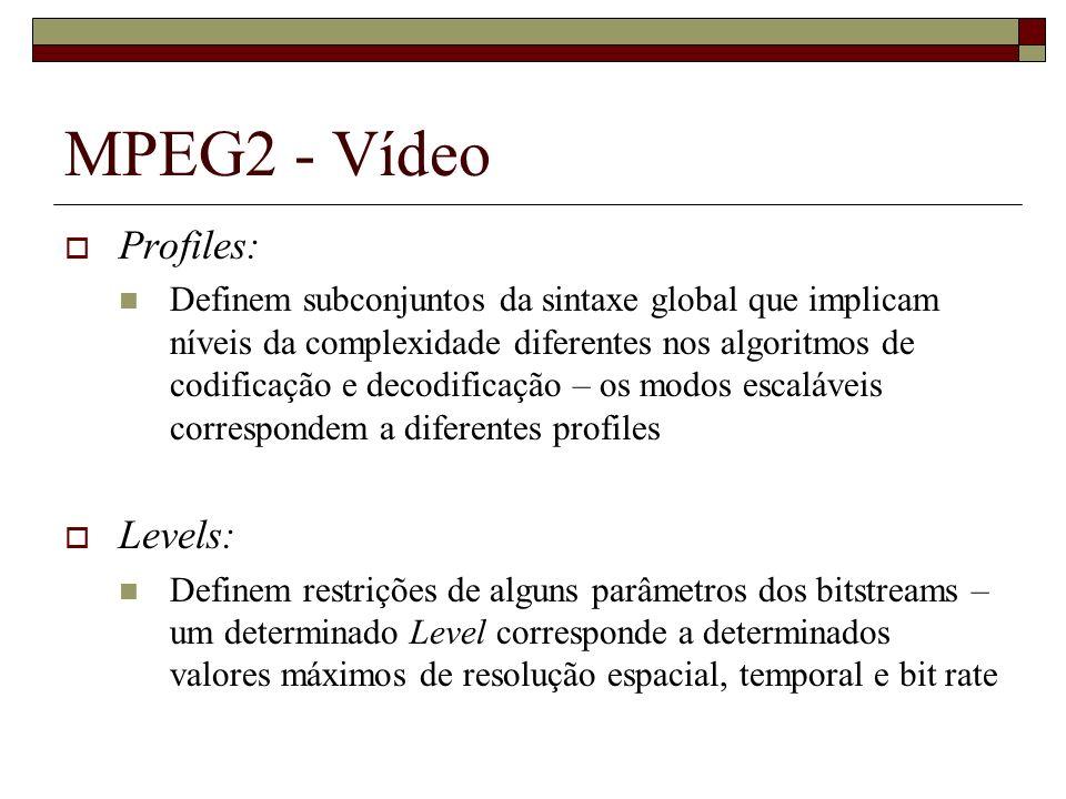 MPEG2 - Vídeo Profiles: Definem subconjuntos da sintaxe global que implicam níveis da complexidade diferentes nos algoritmos de codificação e decodifi
