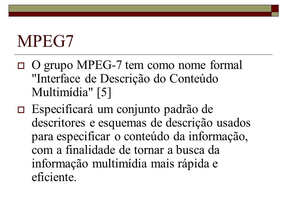 MPEG7 O grupo MPEG-7 tem como nome formal