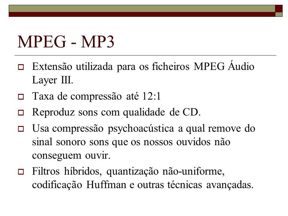 MPEG - MP3 Extensão utilizada para os ficheiros MPEG Áudio Layer III. Taxa de compressão até 12:1 Reproduz sons com qualidade de CD. Usa compressão ps