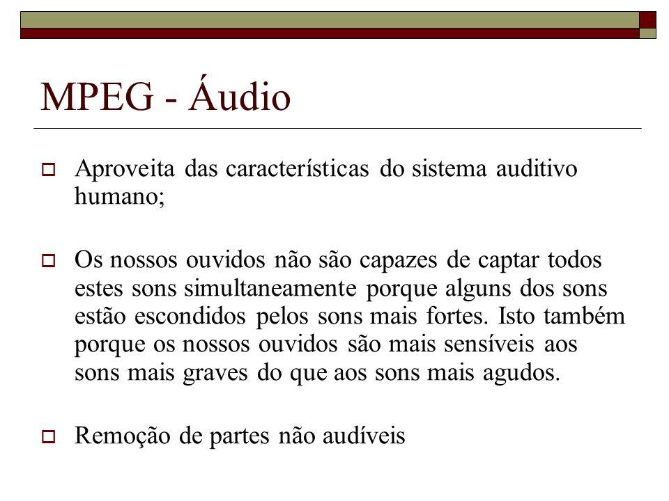 MPEG - Áudio Aproveita das características do sistema auditivo humano; Os nossos ouvidos não são capazes de captar todos estes sons simultaneamente po