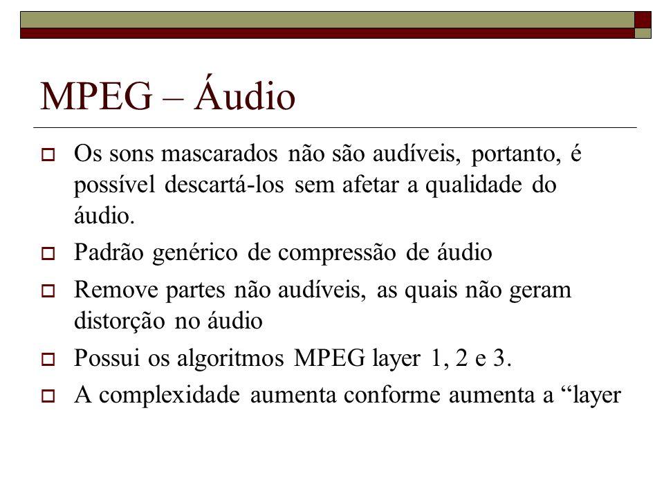 MPEG – Áudio Os sons mascarados não são audíveis, portanto, é possível descartá-los sem afetar a qualidade do áudio. Padrão genérico de compressão de