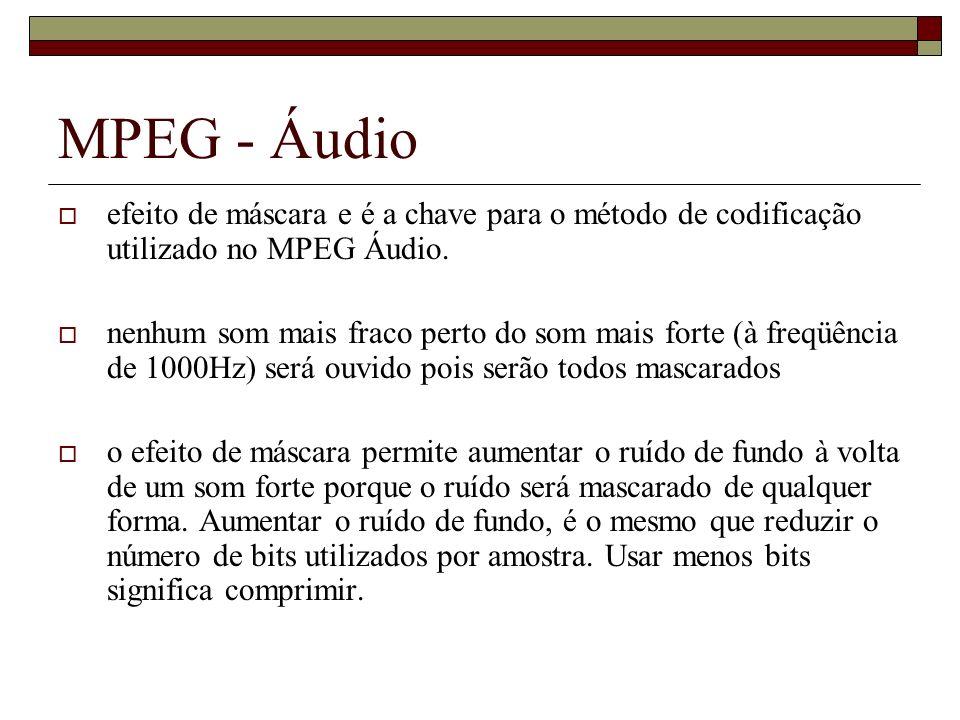 MPEG - Áudio efeito de máscara e é a chave para o método de codificação utilizado no MPEG Áudio. nenhum som mais fraco perto do som mais forte (à freq