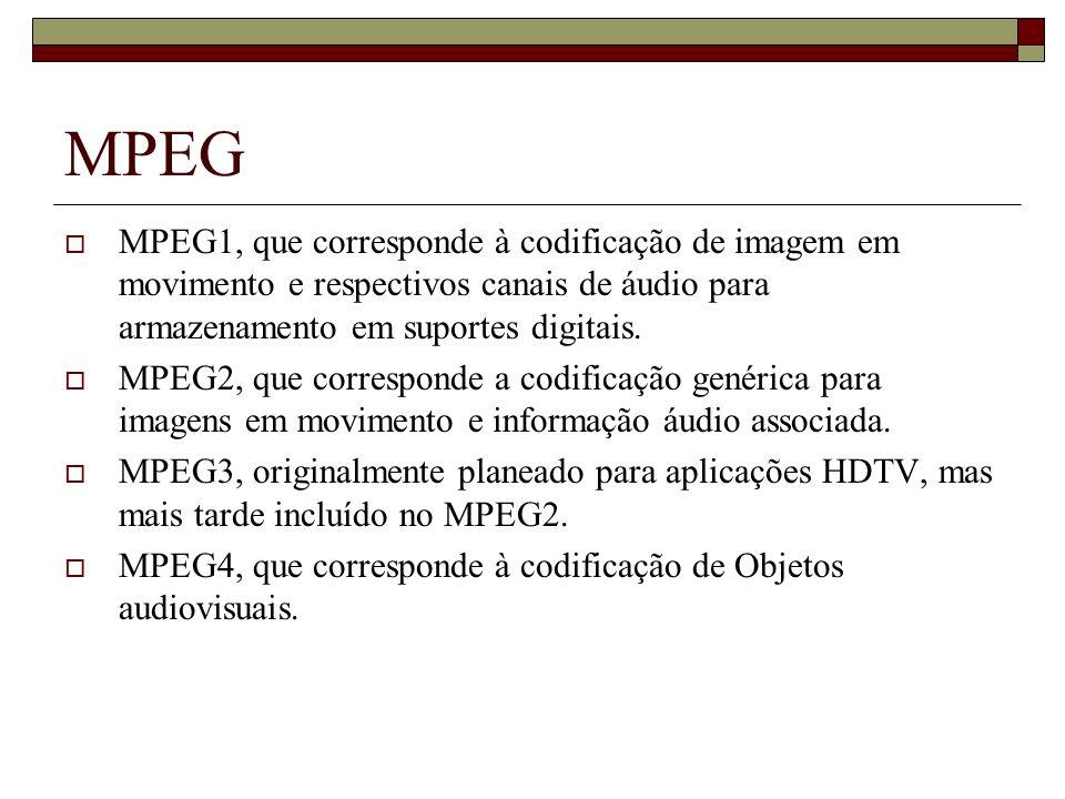 MPEG MPEG1, que corresponde à codificação de imagem em movimento e respectivos canais de áudio para armazenamento em suportes digitais. MPEG2, que cor