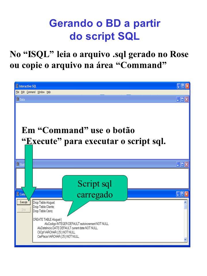 Gerando o BD a partir do script SQL No ISQL leia o arquivo.sql gerado no Rose ou copie o arquivo na área Command Script sql carregado Em Command use o