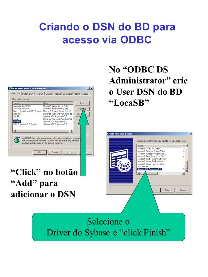 Criando o DSN do BD para acesso via ODBC No ODBC DS Administrator crie o User DSN do BD LocaSB Selecione o Driver do Sybase e click Finish Click no bo