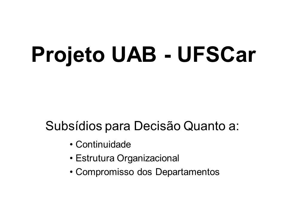 Projeto UAB - UFSCar Subsídios para Decisão Quanto a: Continuidade Estrutura Organizacional Compromisso dos Departamentos
