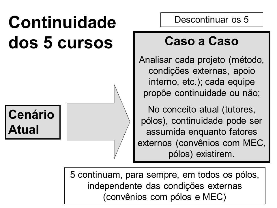 Continuidade dos 5 cursos Cenário Atual 5 continuam, para sempre, em todos os pólos, independente das condições externas (convênios com pólos e MEC) Caso a Caso Analisar cada projeto (método, condições externas, apoio interno, etc.); cada equipe propõe continuidade ou não; No conceito atual (tutores, pólos), continuidade pode ser assumida enquanto fatores externos (convênios com MEC, pólos) existirem.
