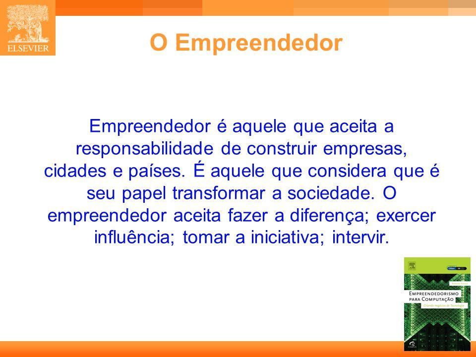 4 Capa O Empreendedor Empreendedor é aquele que aceita a responsabilidade de construir empresas, cidades e países. É aquele que considera que é seu pa