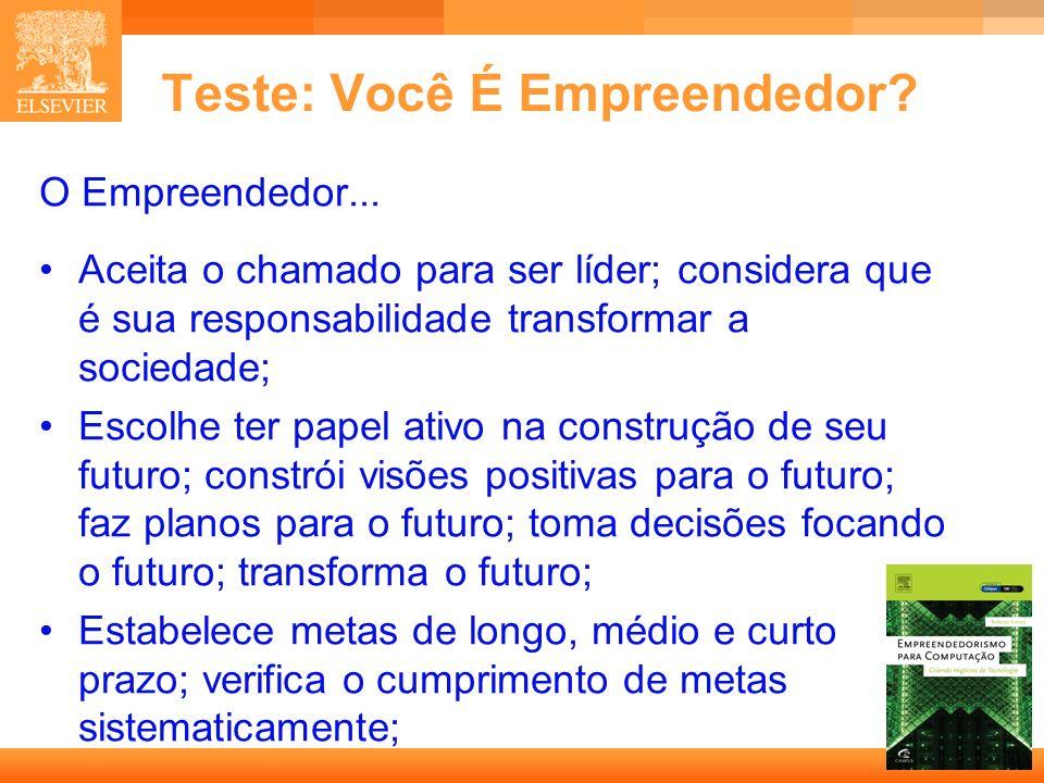 5 Capa Teste: Você É Empreendedor? O Empreendedor... Aceita o chamado para ser líder; considera que é sua responsabilidade transformar a sociedade; Es