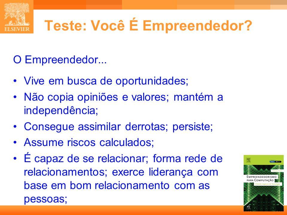 6 Capa Teste: Você É Empreendedor? O Empreendedor... Vive em busca de oportunidades; Não copia opiniões e valores; mantém a independência; Consegue as