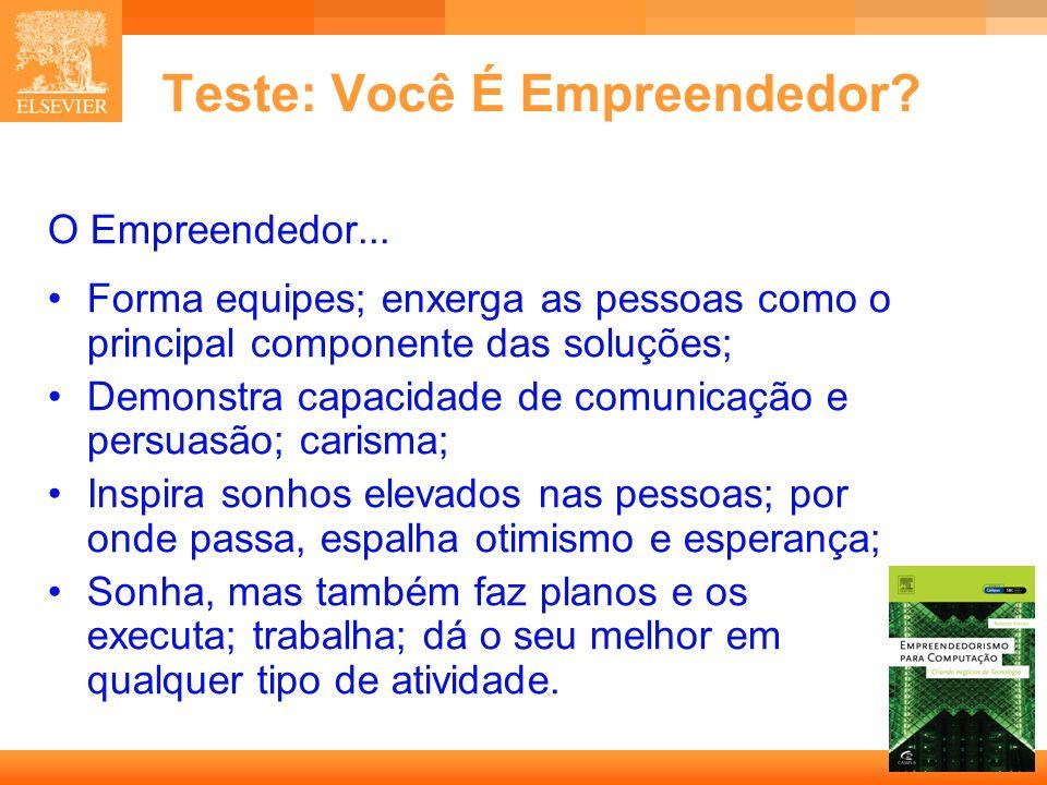 7 Capa Teste: Você É Empreendedor? O Empreendedor... Forma equipes; enxerga as pessoas como o principal componente das soluções; Demonstra capacidade