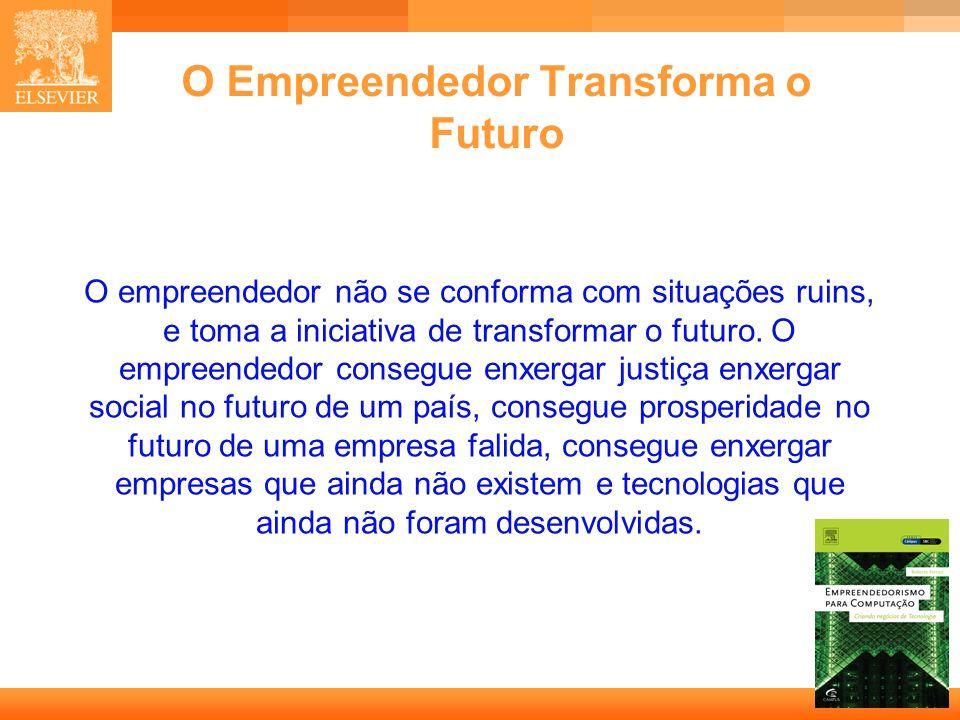 9 Capa O Empreendedor Transforma o Futuro O empreendedor não se conforma com situações ruins, e toma a iniciativa de transformar o futuro. O empreende