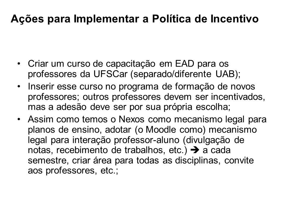 Ações para Implementar a Política de Incentivo Criar um curso de capacitação em EAD para os professores da UFSCar (separado/diferente UAB); Inserir es