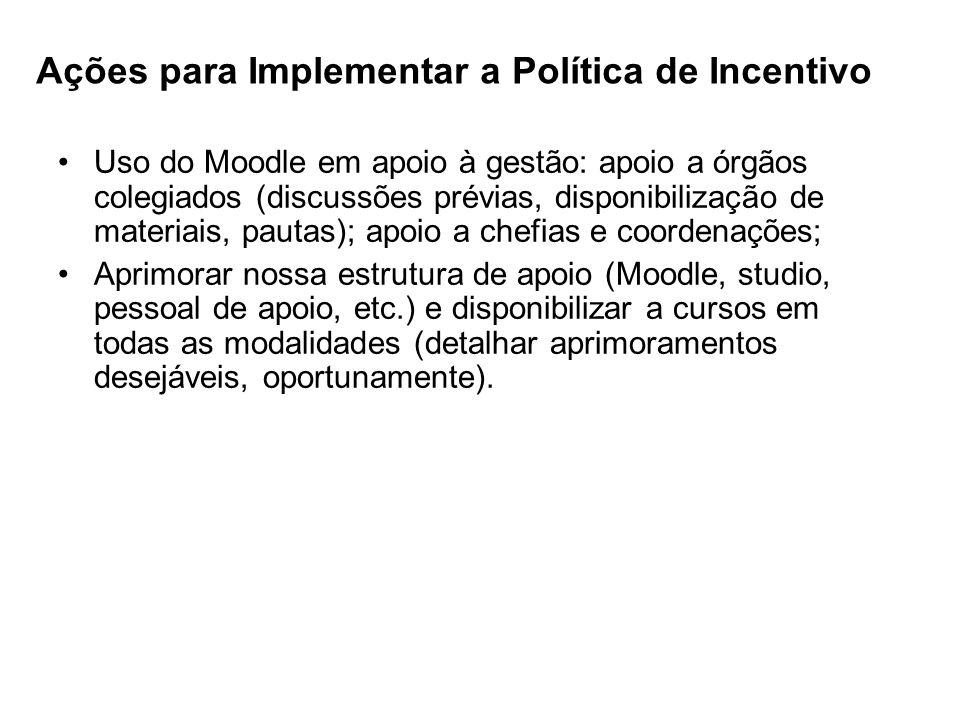 Ações para Implementar a Política de Incentivo Uso do Moodle em apoio à gestão: apoio a órgãos colegiados (discussões prévias, disponibilização de mat
