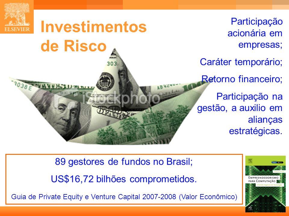 12 Capa Investimentos de Risco Participação acionária em empresas; Caráter temporário; Retorno financeiro; Participação na gestão, a auxilio em alianç