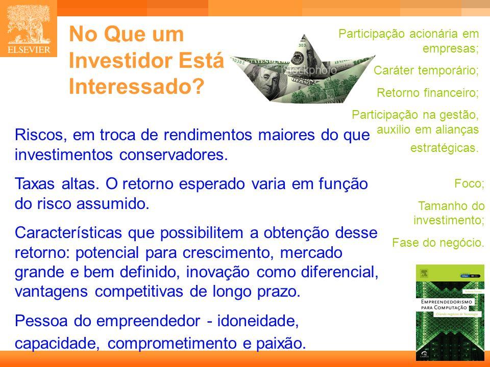 24 Capa No Que um Investidor Está Interessado? Participação acionária em empresas; Caráter temporário; Retorno financeiro; Participação na gestão, aux