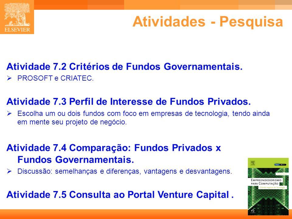 34 Capa Atividades - Pesquisa Atividade 7.2 Critérios de Fundos Governamentais. PROSOFT e CRIATEC. Atividade 7.3 Perfil de Interesse de Fundos Privado