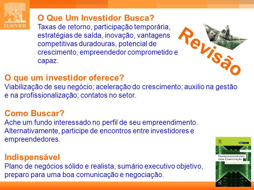 36 Capa O Que Um Investidor Busca? Taxas de retorno, participação temporária, estratégias de saída, inovação, vantagens competitivas duradouras, poten